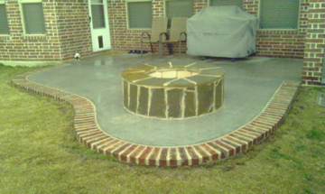 Concrete Patio & Brick Edging